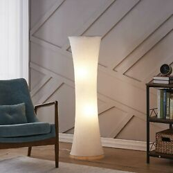 Modern Standing Floor Lamp Contemporary Living Room Reading White Fabric Decor $55.90