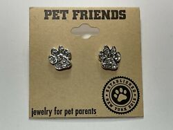 PET FRIENDS Earrings Silver Tone New Overstock With Tags $6.00