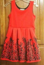 KNITWORKS Beautiful Red w Black Velvet Sparkly Flowers Party Girls Dress Size 12 $18.99