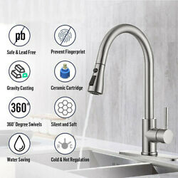 Modern Kitchen Sink Faucet 360° Swivel Brushed Nickel Pull Out Sprayer Mixer Tap $44.88