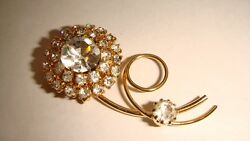 VINTAGE FLOWER SHAPE GOLD TONE RHINESTONE PIN BROOCH ESTATE $15.00