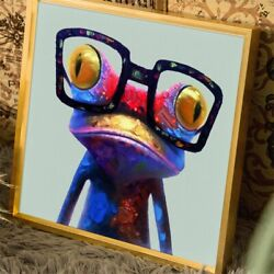 Frog Funny Abstract Multi Colour Canvas Wall Art Picture Painting Print Hanging $9.99