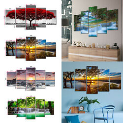 5pcs Canvas Print Picture Paintings Photo Wall Art Home Decor Sunset Forest Gift $14.99