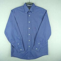 LL Bean Shirt Mens 14.5 32 Long Sleeve Button Up Blue Wrinkle Resistant $16.89