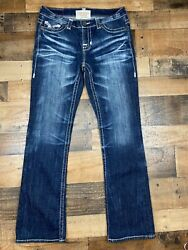 Big Star Womens Liv Mid Rise Bootcut Stretch Thick Stitch Back Flaps Jeans 28R $35.16