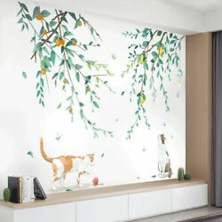 Wall Stickers Tree Branch Lovely Cat Vinyl Mural Decal Removable Home Decoration $24.19