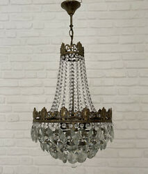 Antique Vintage Brass amp; Crystals French Chandelier Lighting Ceiling Lamp Light GBP 295.00
