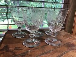 5 quality vintage crystal etched fuschia floral wine water beverage glasses $24.99