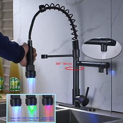 Commercial LED Kitchen Sink Faucet Black Mixer Tap Pull Down Sprayer with Cover