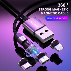 3A 540° Magnetic LED Fast Charging Charge Cable For IPhone Type C Micro USB IOS $8.99