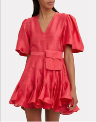Rhode Resort Vivienne Belted Mini Dress Holiday Silk Flared Exotic S NEW 215952 $229.95