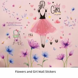 DIY Living Room Flower Plants Wall Stickers With Cartoon Girl Decals Decoration $16.79