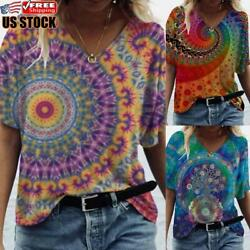 Women Printed V Neck Summer T shirt Tops Ladies Short Sleeve Loose Casual Blouse $14.24