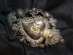 ANTIQUE COLONIAL HOLY SACRED HEART SILVER MILAGRO 1800#x27;s $130.00