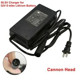 52V E bike Lithium Battery 58.8V Li ion Charger 2A Electric Bicycle Power Supply $32.99