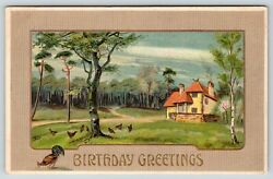 Country Estate Home Chickens amp; Rooster Peck in Lawn Tan Border c1910 Postcard $1.80