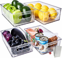 Fridge Organizer Bins 4 Pack Stackable Containers Clear Pantry Storage Organizer $26.29