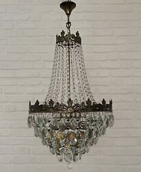 Antique Vintage Brass amp; Crystals LARGE French Chandelier Lighting Ceiling Lamp GBP 325.00