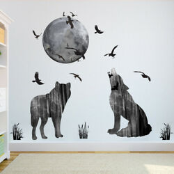 Removable Wall Sticker Forest Moon Wolf Decal Living Room Bedroom Home DIY Decor $7.02