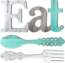 Eat Sign Fork and Spoon Wall Decor Rustic Wood Decoration for Kitchen and Home $28.63
