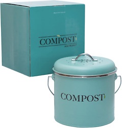 Kitchen Compost Bin With Handle 0.9 Gallon Two Extra Free Filters Indoor Celeste $45.89
