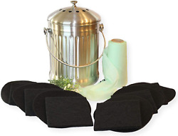 Kitchen Compost Pail Bin For Indoor Countertop Large 1.3 Gallon Food Scrap $38.30