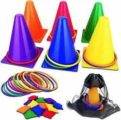 31PCS 3 In 1 Carnival Outdoor Games Combo Set For Kids Soft Plastic Cones Bean B $30.58