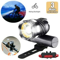 LED Bicycle Front Light Headlight USB Rechargeable Rear Tail light Safety Ride $9.46