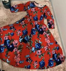 Ana Red Dress with Blue and Pink Roses $28.00