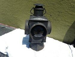 VERY EARLY NEW ENGLAND RAILROAD SQUARE BODY SWITCH LAMP PETER GRAY ? $195.00