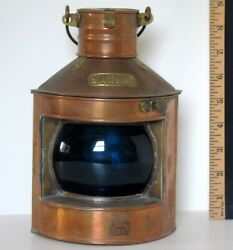 Copper Starboard Ship Lantern Blue Glass by Tung Woo $595.00