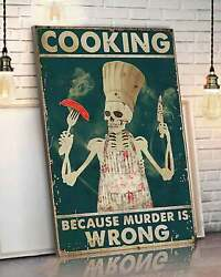 Skeleton Cooking Art Kitchen Decor Cooking Poster Funny Bakery poster Huna91 $20.99