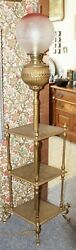 Old Antique Ornate Brass ORGAN LAMP w Ombre Etched Shade Electrified WORKS $395.00