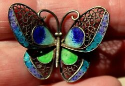 Beautiful Old Victorian 800 Silver With Guilloché Enamel BUTTERFLY Brooch Pin $45.00