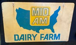 Vintage Mid Am Dairy Farm Double Sided Sign Mid American Seed Feed Gas Oil $59.99