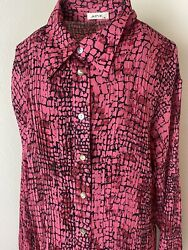 Retro Y2K Hot Pink Animal Print Pleated Blouse Size XL $19.95