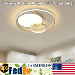 Modern Acrylic LED Ceiling Light Fixture 3 Rings Round Chandelier Bedroom Decor $59.00