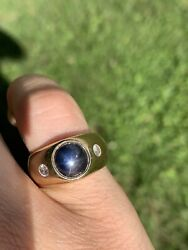 mens star sapphire ring 14k yellow gold with diamonds 14 G Size 7 Natural Blue $1200.00