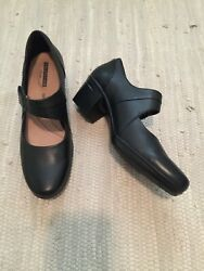 CLARKS Emslie Lulin Womens 12 Black Leather Mary Jane Shoes Heels NEW No Box $39.00