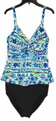 Miraclesuit Tankini Set Womens 12 White Blue Floral Adjustable Straps Underwire $44.00