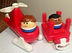 1990s Vintage Little Tikes Toddler Chunky Figure People amp; Helicopter amp; Train car $14.99