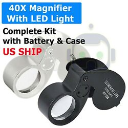 40X Magnifying Loupe Jewelry Eye Glass Magnifier LED Light Jewelers Loop Pocket $4.85