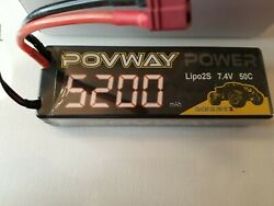 Lipo Battery POVWAY 5200mAh 2S RC Battery 7.4V 50C with Deans T Plug for RC Car $24.99