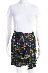 C MEO Collective Womens Floral Print Ruched Mini Skirt Navy Blue Size Small $32.99