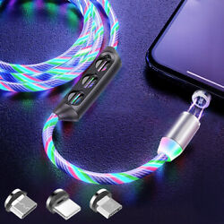 Magnetic LED Light Up USB Phone 4 in 1 Charger Cord For iPhone Type C Micro US $6.65
