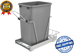 35 Quart Chrome Plated Wire Bottom Mount Pullout Kitchen Waste Trash Can $60.90