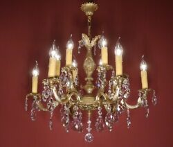 CRYSTAL FRENCH CHANDELIER LAMP HOME DECOR HALL ENTRYWAY 12 L BRASS BRONZE $855.00