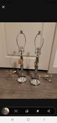 Pier 1 Imports Bling Table Nightstand Bedroom Lamps 2 Silver Tone 23quot; New $40.00