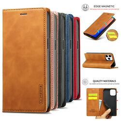 For iPhone 12 11 Pro Max XS X XR 7 8 6s Leather Wallet Case Magnetic Flip Cover $9.03