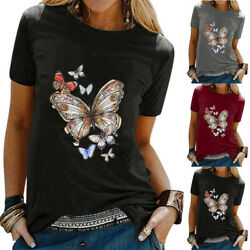 Womens Crew Neck Short Sleeve Tee Tops Casual Butterfly Printed T Shirt Blouse $14.81